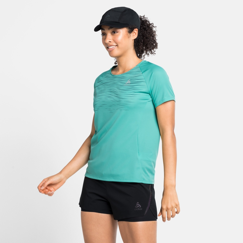 T-shirt de Running ESSENTIAL PRINT pour femme, jaded - graphic SS21, large