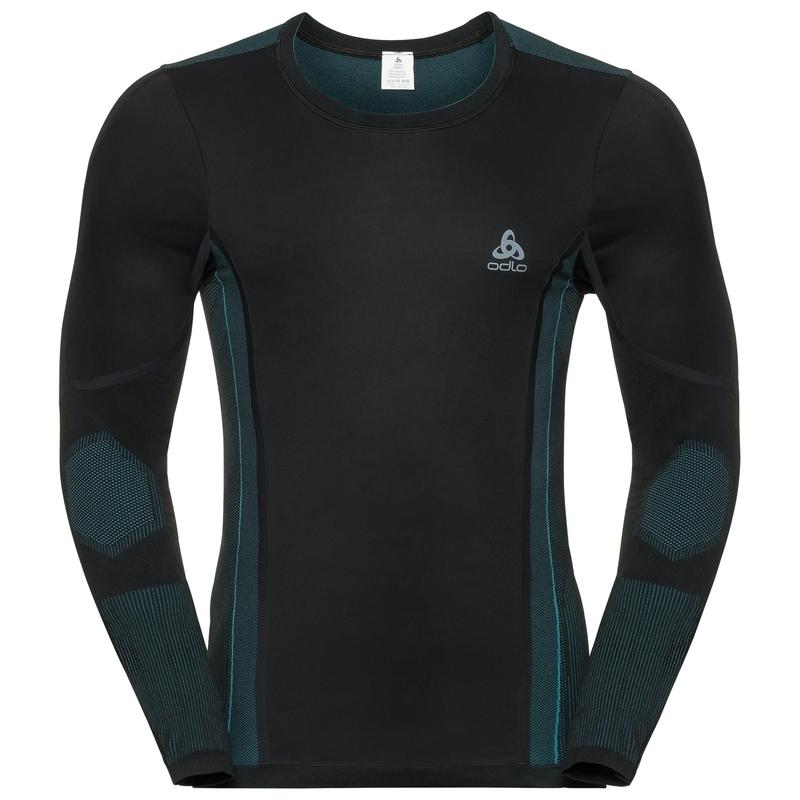 Men's WINDSHIELD Long-Sleeve Base Layer Top, black - lake blue, large