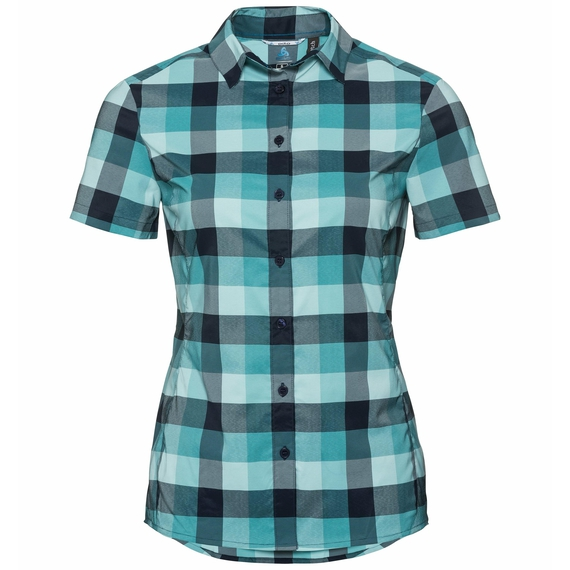 KUMANO CHECK Bluse, blue radiance - baltic - diving navy - check, large