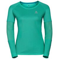 BL TOP Crew neck l/s KUMANO ACTIVE, pool green - crystal teal - stripes, large