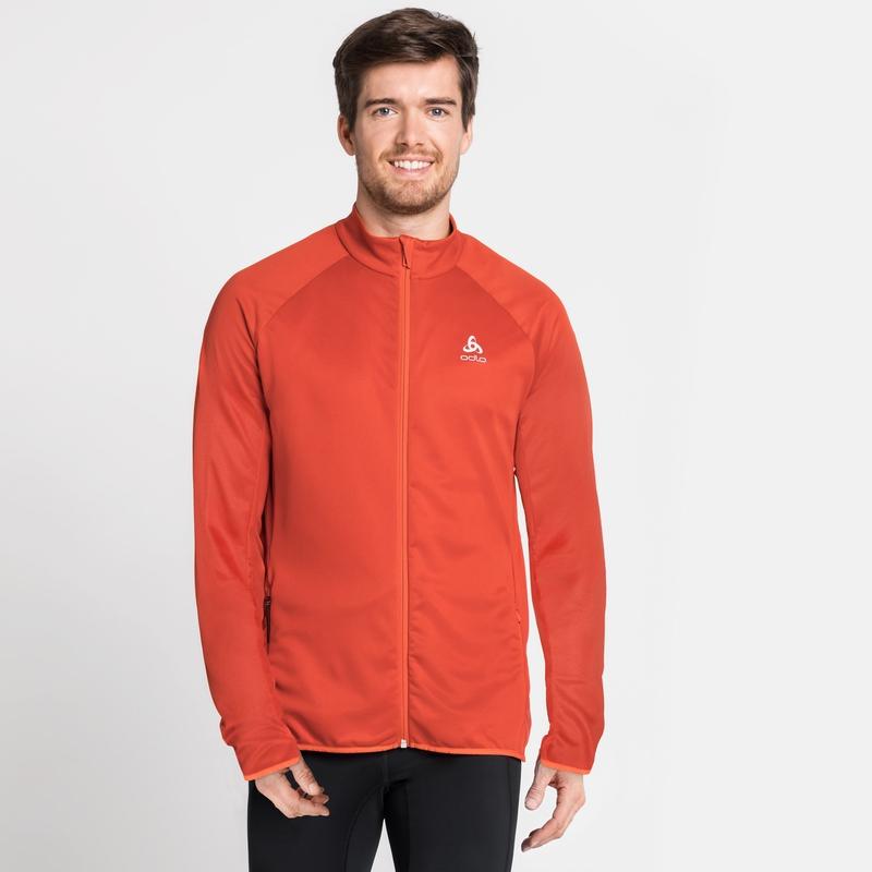 Men's FLI CERAMIWARM Full-Zip Midlayer Top, mandarin red - stripes, large