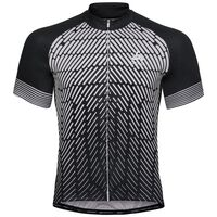 Stand-up collar s/s full zip FUJIN PRINT Light, black - odlo silver grey, large