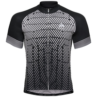 Men's FUJIN PRINT Short-Sleeve Cycling Jersey, black - odlo silver grey, large