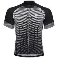 Maillot Cycle zippé à manches courtes FUJIN PRINT pour homme, black - odlo silver grey, large