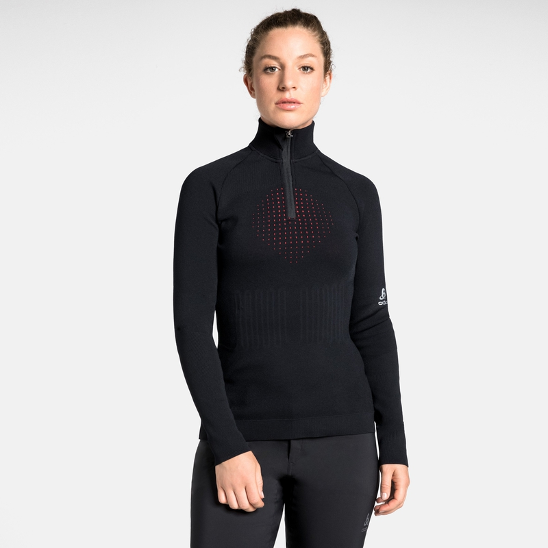 Damen I-THERMIC Mid Layer mit 1/2 Reißverschluss, black, large