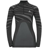 Maglia Base Layer a collo alto con 1/2 zip a manica lunga BLACKCOMB da donna, black - odlo concrete grey, large