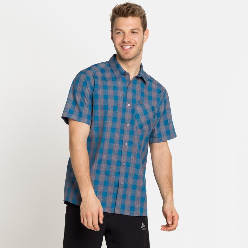 MYTHEN-overhemd met korte mouwen voor heren, mykonos blue - grey melange, large