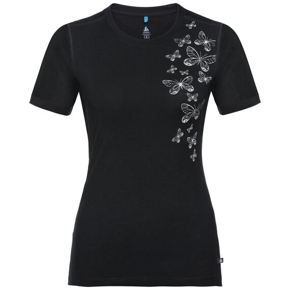 BL TOP Crew neck s/s KUMANO 100% MERINO PRINT, black with butterfly print, large