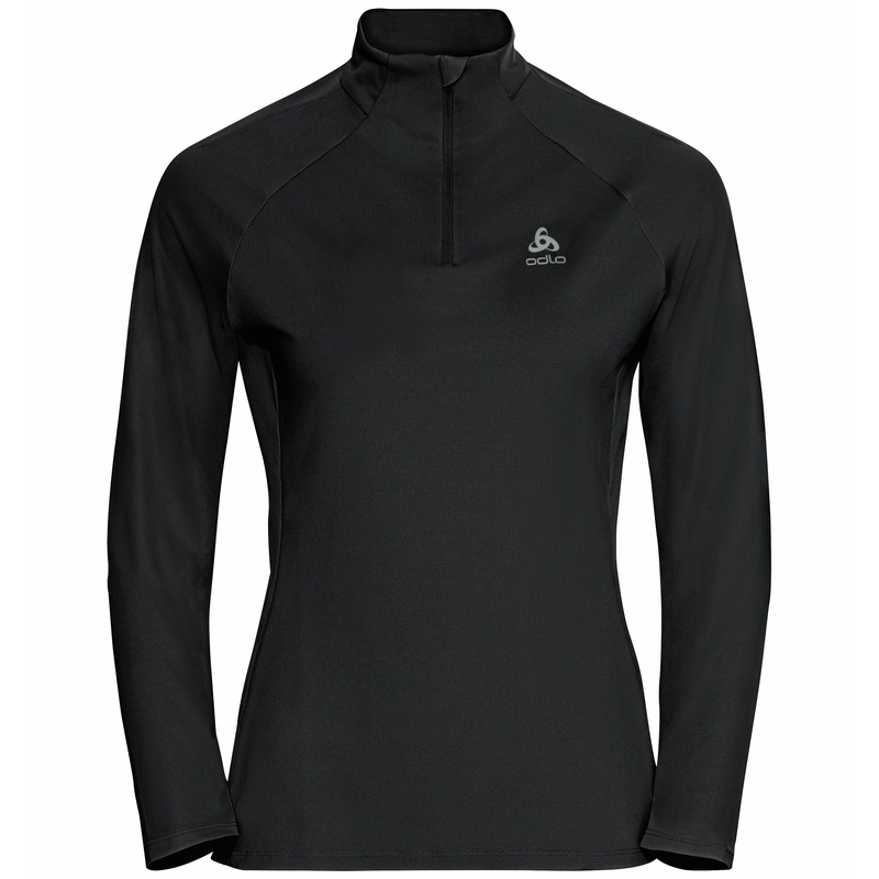 The Essential Ceramiwarm mid layer half zip, black, large