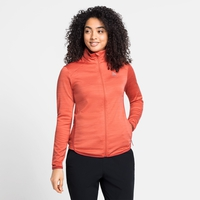 Felpa midlayer con zip intera STEAM da donna, burnt sienna melange, large