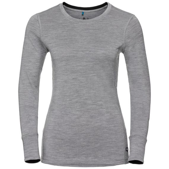 Natural 100 Merino Warm baselayer shirt women, grey melange - black, large