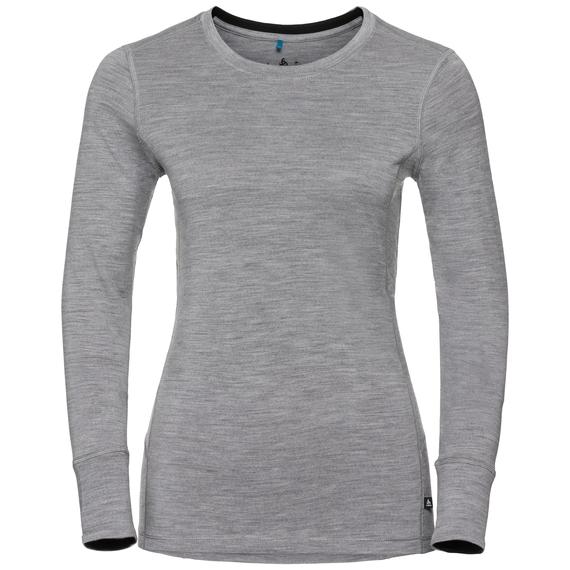 Natural 100 Merino Warm baselayer shirt women, grey melange - black, large