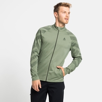 Felpa midlayer con zip intera CONCORD PRINT da uomo, matte green melange - graphic SS21, large
