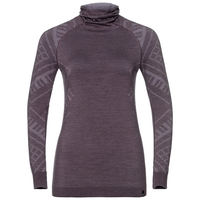 Women's NATURAL + KINSHIP WARM Base Layer Top with Face Mask, vintage violet melange, large