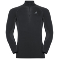 Men's PERFORMANCE WARM 1/2 Zip Turtle-Neck Long-Sleeve Baselayer Top, black - odlo concrete grey, large