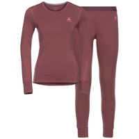 Damen NATURAL 100% MERINO WARM Funktionsunterwäsche Set, roan rouge - grey melange, large