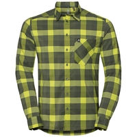 Men's NIKKO CHECK Long-Sleeve Shirt, acid lime - four leaf clover - climbing ivy - check, large