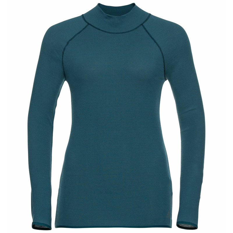Women's PURE WOOL Long-Sleeve Base Layer Top, submerged, large
