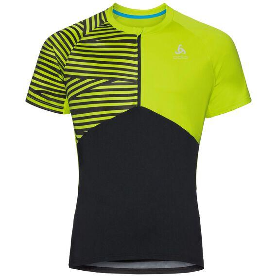 Shirt s/s 1/2 zip MORZINE, black - acid lime, large