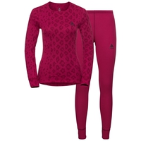 Women's X-MAS ACTIVE WARM Set, cerise - AOP FW19, large