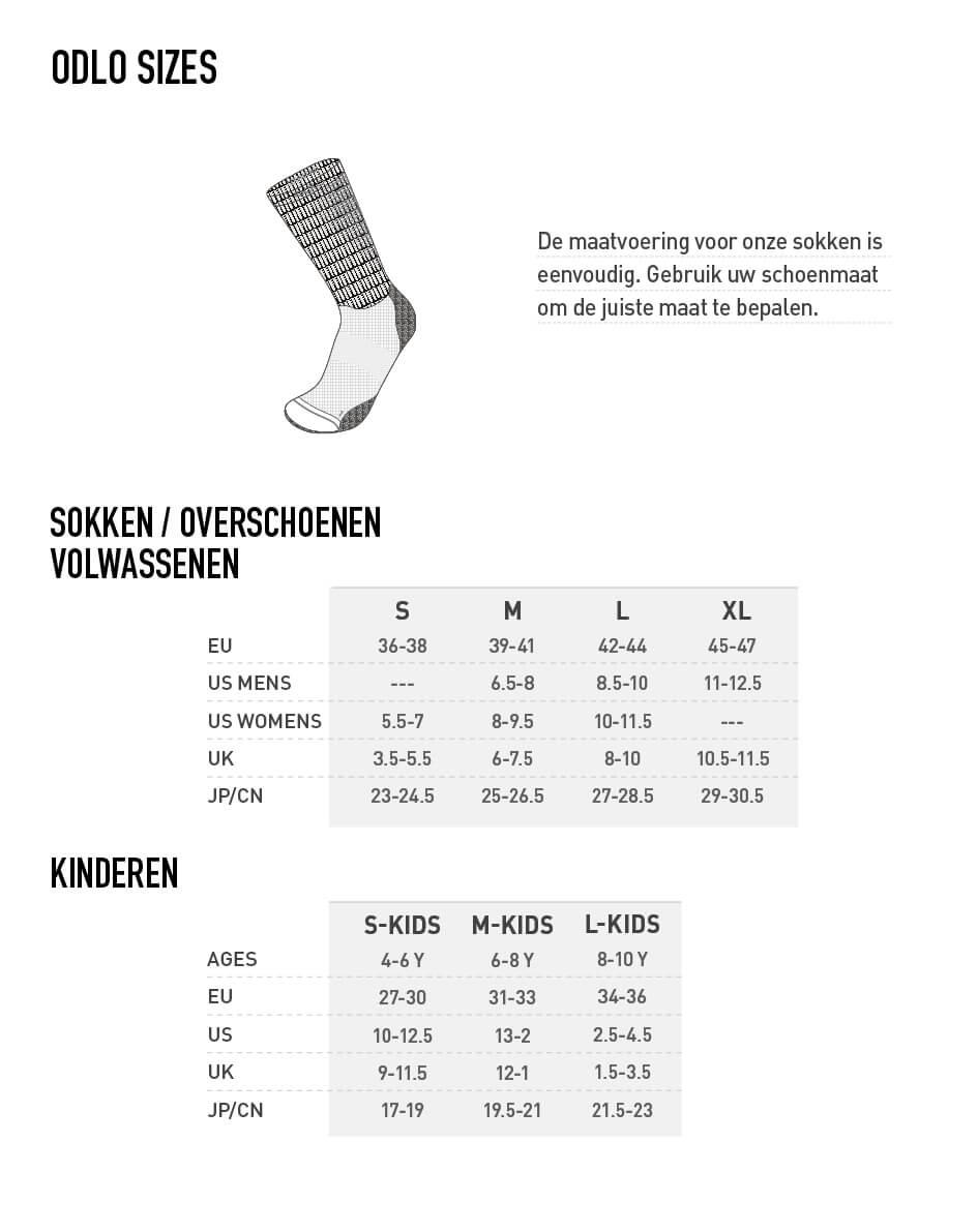 Odlo Socks Size Chart