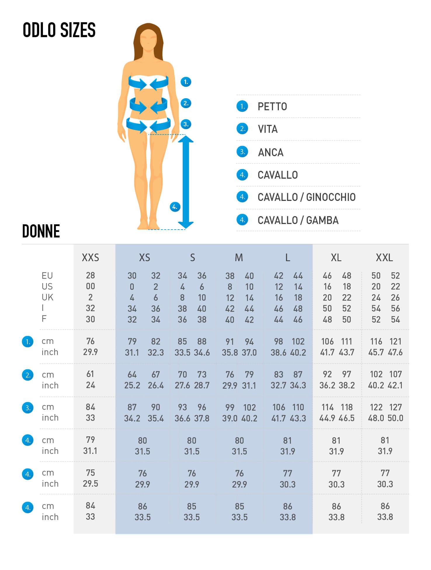 Odlo Women Size Chart