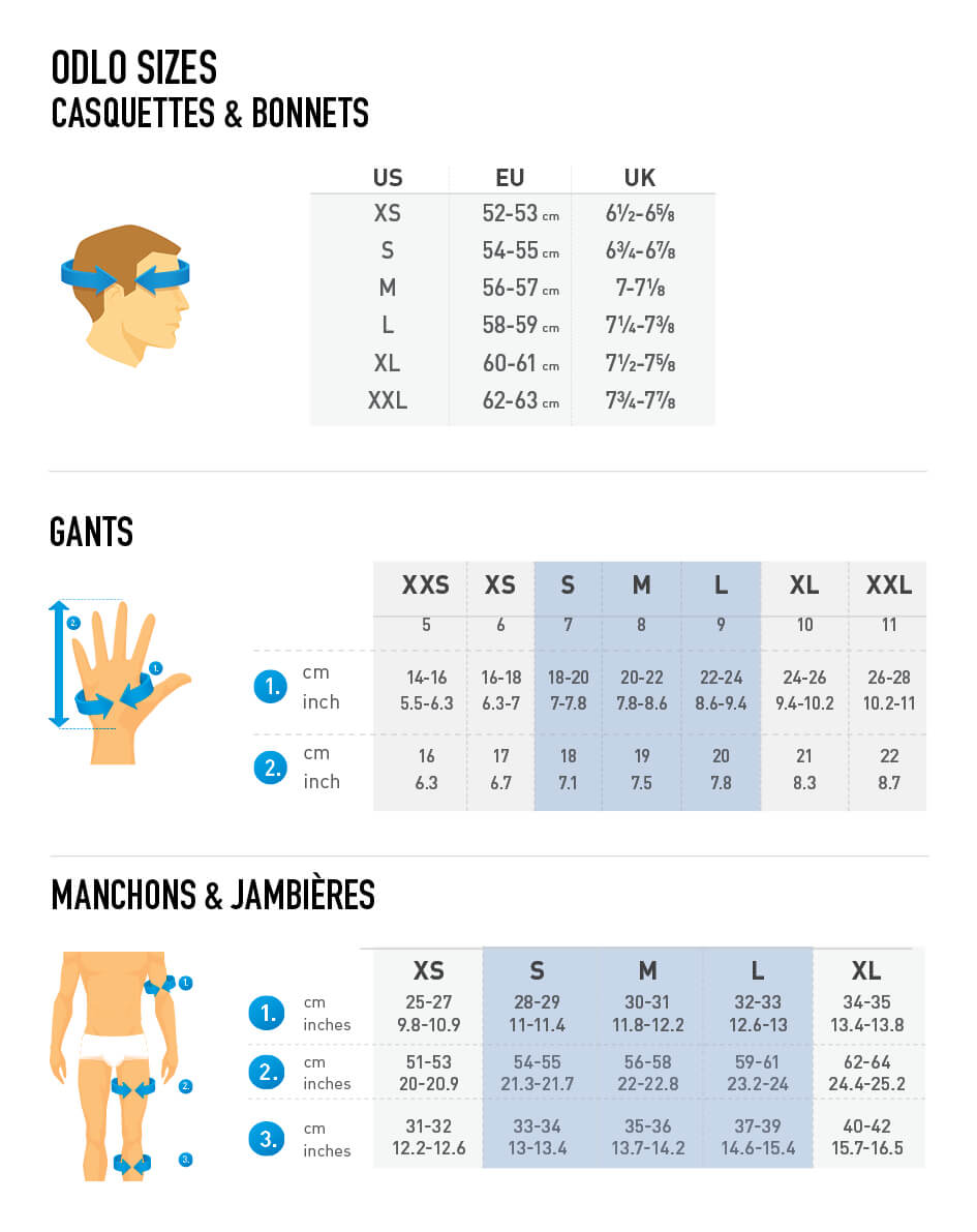Odlo Gloves & Warmers Size Chart