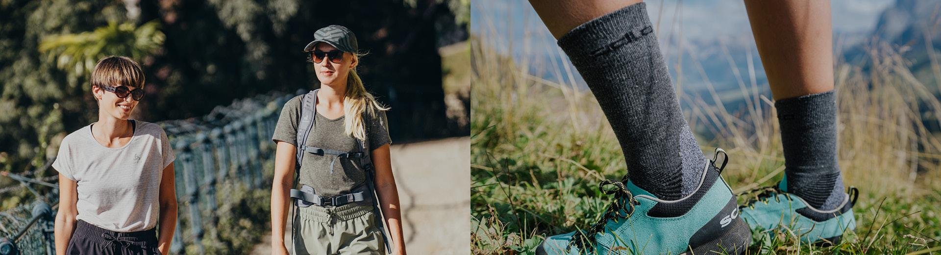 Socks and headwear for hiking