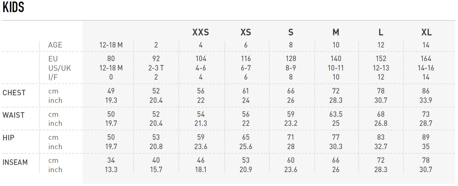 Odlo Kids Size Chart