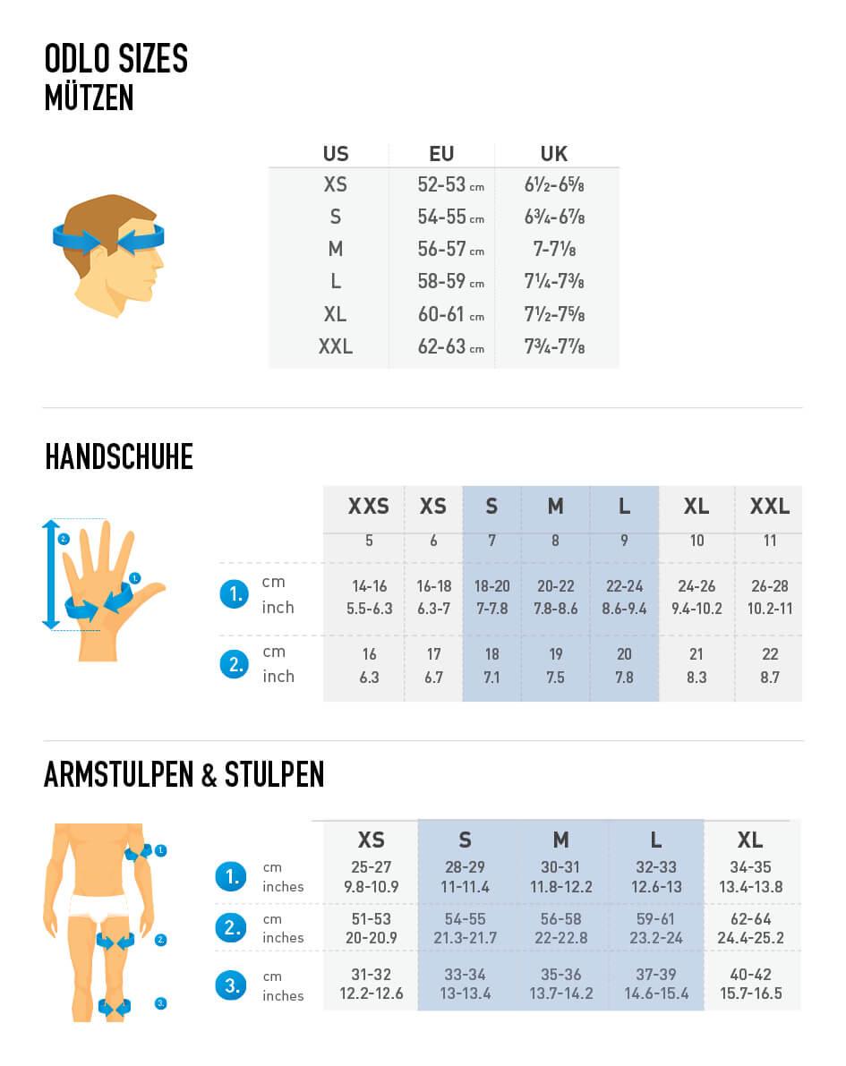 Odlo Gloves & Warmers Size Chart